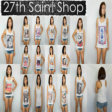 27th Saint Shop Women's All Racer Vest Tank Top Ladies Cotton Sleeveless T Shirt