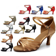 Women's Dancewear Shoes Ballroom Latin Tango Dance Shoes Salsa Heel 7cm Colorful