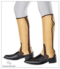 Borraq Camel with Brown Trimming Ammara Half Chaps & Elasticated Gusset