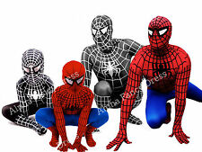 Spiderman Deluxe Adult & Kids Fancy Dress Costume Spider Man - All Sizes