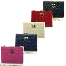 Authentic Cross body bag quilted Clutch LOVE MOSCHINO Purse  Pink Ivory Navy