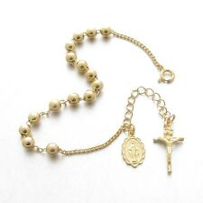 BR45-Y Cross Crucifix Sterling Silver 925 Rosary Bracelet 4.5mm Gold Plated