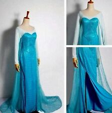 Adulto Elsa congelados Snow Queen Fancy Lentejuelas Joya Cape Dress Costume 8/10/12 / 14/16
