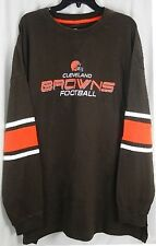 Cleveland Browns NFL Apparel Long Sleeve Mens Jersey Style Shirt Brown Big Sizes