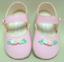 BABY GIRLS PRAM SHOES PATENT PINK SATIN FLOWER MARY JANE Sz 3 12-18 CHRISTENING