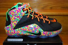 NIKE LeBron 12 XII FRUITY PEBBLES KIDS GS PS TD 685181-008 Cereal SIZE: 6C-7Y