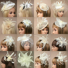 Cream Feather Hat Fascinator Aliceband Headband Comb Clip Weddings Races Ascot