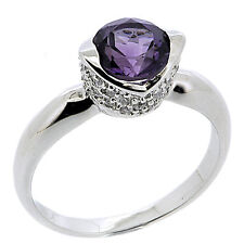 925 Sterling Silver 1.58 Ct Natural Purple Amethyst & CZ Ring