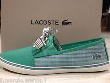 LACOSTE Women's Boat Shoes Moccasin Low Sneakers FABIAN 2 AP Canvas - New In Box
