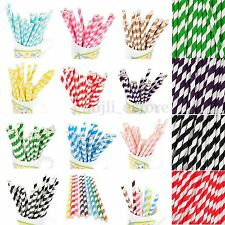 25/50/100pcs Colorful Striped Paper Drinking Straws Wedding Birthday Party
