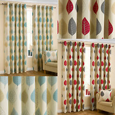 Mia Leaves Print Ready Made Eyelet Curtains - Red & Duck Egg