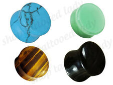 Gemstone Flesh Plug Lobe Natural Turquoise Onyx TigersEye Jade Gauges 3mm - 12mm