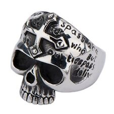 Inox Jewelry Skull with Gothic Cross and Wordings 316L Stainless Steel Ring New