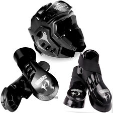 Taekwondo,Karate MMA Headgear,Hand,Foot Macho Warrior Sparring Gear set-BLACK