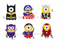 Minion Despicable Me Super Heroes Iron On Transfer Tee Shirt Adult Kid Cartoon