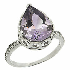 925 Sterling Silver 4.41 Ct Natural Purple Amethyst & White CZ Ring