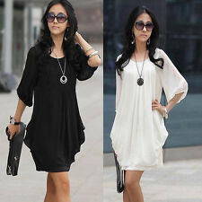 Fashion Women Summer Short Sleeve Chiffon Mini Dress Lady Casual Party Dress NEW