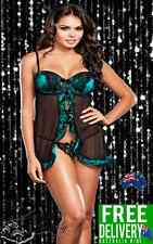 Hot Sexy Green Satin Over Black Mesh Lace Chemise Lingerie Size 8-18 (L1111)