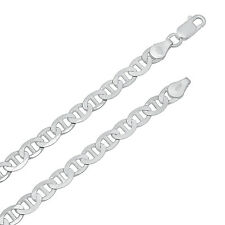 Men's 5.5mm Real 925 Sterling Silver Mariner Link Chain Necklace