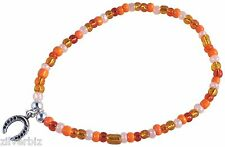 ANKLET with Small HORSESHOE Charm on Orange Mix Glass Seed Beads Mix