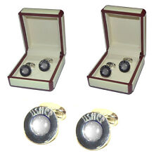 GREY Wedding Cufflinks, Circular with domed colour detail & wedding title text