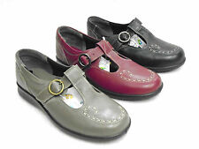 LADIES LEATHER EASY B MARY JANE SHOES 'EE' WIDTH FIT 3 COLOURS  - JENNY