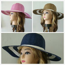 Women Wide Brim Straw Hat Two Tone Summer Beach Hat One Size