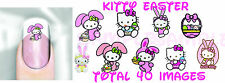 Hello Kitty Egg Nail Art Decals Transfer x40  Adult Kid Sz Peel n Apply