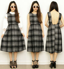 Grunge Black PLAIDS Tartan BACKLESS Low Back MIDI Full Pleat Skirt Dress 8 10