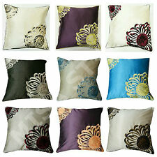 "LUXURY FLORAL EMBROIDERED FAUX SILK DECORATIVE  MODERN CUSHION COVERS 18"" X 18"""