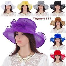 Women Summer Vintage Kentucky Derby Hats  Wide Brim Organza Church Dress Caps