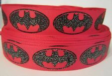 "GROSGRAIN HOT PINK AND BLACK GLITTER BATMAN 7/8"" INCH RIBBON 1, 3 or 5 YARDS"