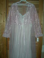 *NEW* LONG BEAUTY PINK VICTORIAN LACE PEIGNOIR BRIDAL ROBE NIGHT GOWN SET S M L