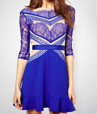 summer casual women Blue Eyelash Lace Party skater Dress LC21480