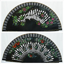 Spanish flamenco Black wooden hand fans eventails fächer ventagli abanicos Spain