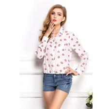 Trendy Women's Red Lip Print Chiffon Long Sleeve Blouses Button Down Shirt Tops