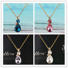 Chic 14k Gold Filled Austrian Crystal Pendant Chain Necklace Jewelry In 6 Color