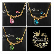Chic  14k Gold Filled Austrian Crystal Bulb Pendant Necklace Jewelry In 6 Color