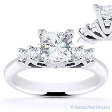 Square Cut Forever Brilliant Moissanite 14k White Gold 5-Stone Engagement Ring