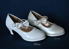 New White or Ivory Girl Dress Shoes Heels Pumps Kids Toddler Youth Party Pageant