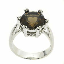 .925 Sterling Silver 3.16 ct Natural Smoky Quartz & White CZ Ring