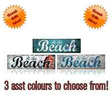"""""""AT THE BEACH"""" NAUTICAL WOOD WALL SIGN PLAQUE 3 ASST DESIGNS AVAILABLE"""