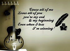 John Legend All Of Me Lyrics Quote Decorative Vinyl Wall Sticker Decal Art