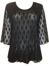 Womens plus size 18 to 24  top black lace top evening / party wear 3 / 4 sleeves