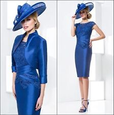 New Blue Free Jacket Mother of the Bride Women Formal Occasion Outfit/Suit gowns