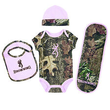 Browning Baby Camo and Light Pink Onesie Layette Set NB-18 Month