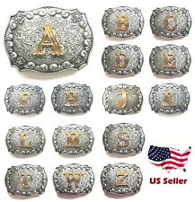 New Initial Letters Western Style Cowboy Rodeo ANTIQUE SILVER Tone Belt Buckle