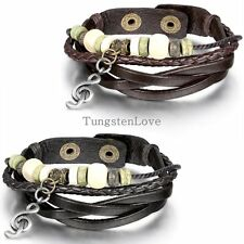 Men's Women's Unisex Music Notation Wooden Beaded Weave Strap Leather Bracelet