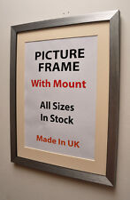 20mm Silver Brush Picture Frame with Mount,Choice of Ivory,Black or White Mount