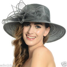 Women's Organza Kentucky Derby Church Wide Brim Sun Dress Hat S052A